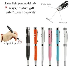5 In 1 Multipurpose Antenna Pen With Torch, Laser, Pointer, Magnet, And Pen (Assorted Color)