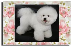 GREETING CARD Dog Bichon Frise Pink Flowers Shabby Chic BLANK for any occasion