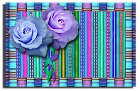 GREETING CARD Roses on Peru style Fabric BLANK for any occasion