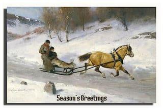 GREETING CARD Season's Greetings Vintage Horse Sleigh Dashing Trough the Snow