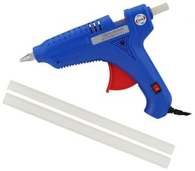 GURUDEV 80W 80 WATT HOT MELT GLUE GUN WITH ON OFF SWITCH INDICATOR AND FREE 2 TRANSPARENT GLUE STICKS