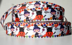 "Halloween Witch Black Cat Pumpkins 7/8"" grosgrain ribbon 4 yds. decorate crafts"