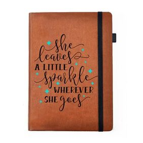 Hamee - She Sparkles - Tan Brown Leather Notebook