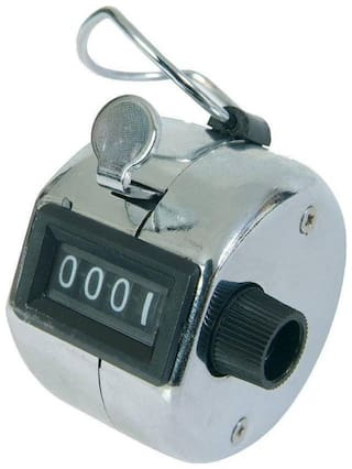 Hand Held 4 Digit Manual Mechanical Click Analog Tally Counter  (Multicolor Pack of 1)