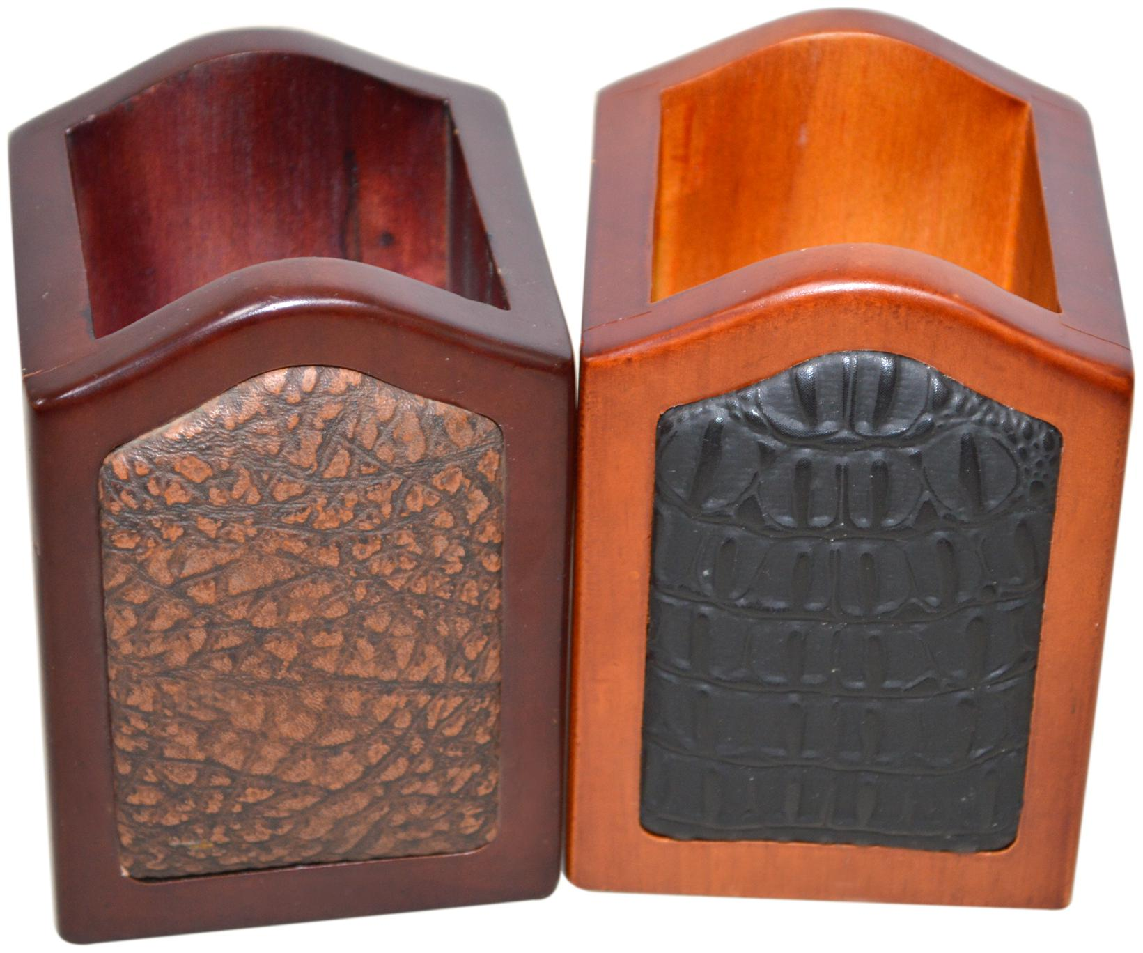 Handcrafted Wooden Pen Holder 2 Compartments  Multi