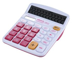 Handheld Colorful Standard Function Desktop Electronic Calculator Solar and Battery Dual Powered 12 Digits Rose Red