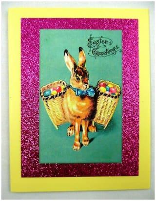 Handmade~Beautiful~Easter~Bunny~Vintage~Victorian~Postcard~Style~Greeting Card