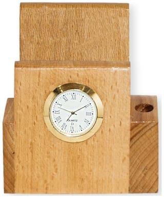 Handmade Wooden Decorative Desk Wooden Clock Pen Holder 3 x 4 In / Office Desk Organizer / Office Pen Pencil Holder