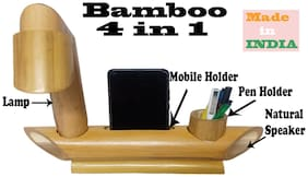 Happy Bamby 4 in 1 Multipurpose Bamboo Lamp;Pen Stand;Mobile Stand;and Speaker (Made in India)
