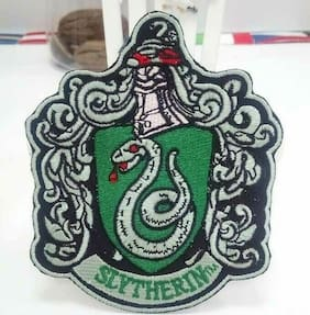 """Harry Potter Slytherin Shield 2.5"""" x 3"""" Tall Embroidered Iron On Patch"""