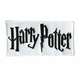 "HARRY POTTER TEXT/LOGO 4 1/4"" EMBROIDERED IRON ON/SEWN ON PATCH 1ST QUALITY"