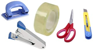HD Office Accessories Set of (Scissor, Paper Cutter, Stapler, Paper Punch, Tape)