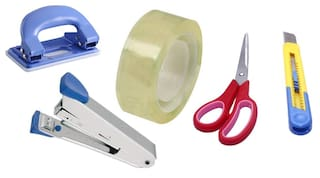 HD Office Accessories Set of (Scissor, Paper Cutter, Stapler, Paper Punch, Tape)