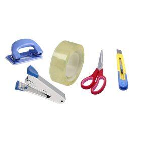 HD Office Accessories Set (1 Scissor, 1 Paper Cutter,1 Stapler , 1 Paper Punch,1 Tape)