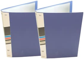 Hello Perfect 2-Pack A4 Size Display File with 30 Pockets Presentation Folder Book with Transparent Sleeves - Blue