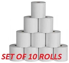 Hello Perfect 79MM X50 Mtr (7.62 cm (3 inch)) Thermal Paper Roll (Set of 10, White)