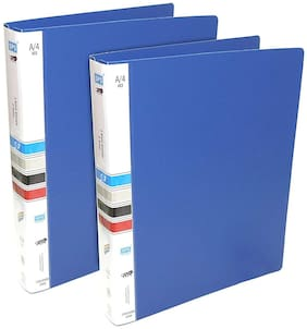 Hello Perfect Ring Binder File, 2D A4 Size Tough & Durable A4 Size Ring Binder Box Board File - Blue - 2 Pack