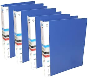 Hello Perfect 4 Pack Ring Binder File, 2D A4 Size Tough & Durable A4 Size Ring Binder Box Board File (Blue)