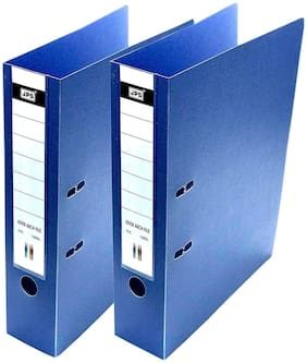 HELLO PERFECT 2 Pack Executive polymar Box File, /Corporate Series FC Lever Arch file - Office Documents & Certificates Storage- Blue