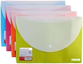 Hello Perfect PP A4 Document Bags with Front & Back Pockets, Set of 4, (Assorted Colors)