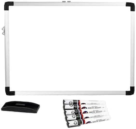 Hello Perfect Melamine (Non-magnetic) Whiteboard, Lightweight Aluminium Frame, 1.5x2 Feet With Free 5x Whiteboard Marker & 1 Whiteboard Duster