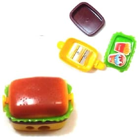 High quality mechanical 2 Hole Hamburger Shape Pencil sharpener with two rubber (1PC) Multi Color