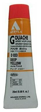 HOLBEIN ARTISTS COLORS D033 ACRYLA GOUACHE 20ml DEEP YELLOW