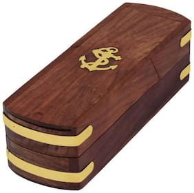 Holy Ratna Handcarved Anchor Art Wood Pencil Box  (Set of 1, Brown)