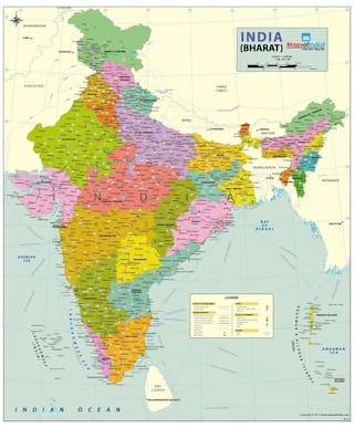 Buy India Political Map Art Paper 27 55w X 33h Wall Chart 2017