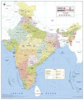 India Wall Map - Printed on Vinyl (27.5 W x 32.6 H) Wall Chart  2017