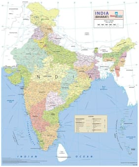 India Wall Map with Roller - Synthetic (70 x 83 cm )