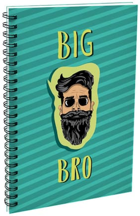 Indigifts Big Bro Printed Brother Birthday Gift Green A5 Size Wiro Bound Personal Notebook