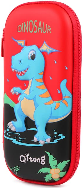 INSTABUYZ double zipper dinosaur design Pencil pouch Organizer for School Kids pencil case for girls & boys