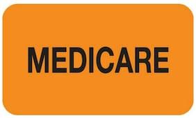"""Insurance Labels, MEDICARE - Fl Orange, 1-1/2"""" X 7/8"""" (Roll of 250)"""