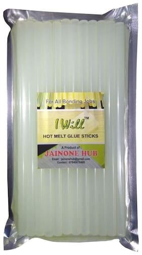 iwill 11 MM Transparent Hot Melt Glue Gun Sticks For Art and Craft Work DIY 25.4 CM Long (15 Sticks)
