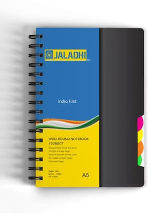 Jaladhi 5 Subject Ruled Notebook;A5;70 GSM;400 Pages;Size 21x16