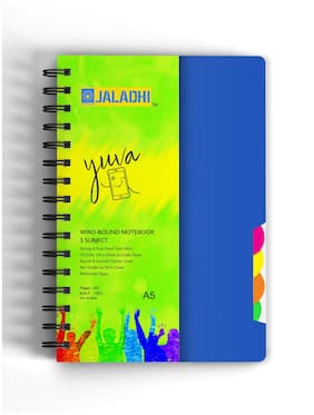 Jaladhi 5 Subject Ruled Notebook;A5;70 GSM;300 Pages;Size 21x16 cm