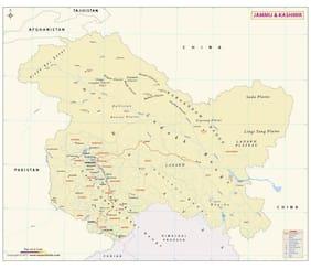 Jammu and Kashmir Map (48W x 40H) Vinyl Print [Wall Chart]