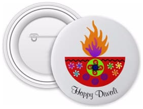 ed19c647267 Jaz Deals Designer Happy Diwali Red Diya Print Round Shape Badge