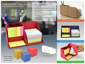 Jazam Folding Paper Cube (With Memopad And Tumbler) Blue