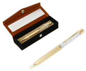 Jewel Fuel Gold Plated German Silver Swarovski Crystal Filled Ball Pen With Velvet Gift Box