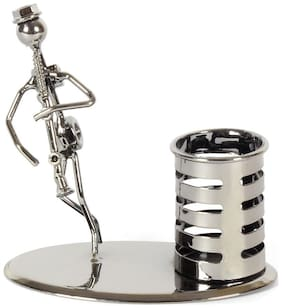 JEWEL FUEL Iron Pen Stand and Musician Playing Clarinet Table Top Showpiece