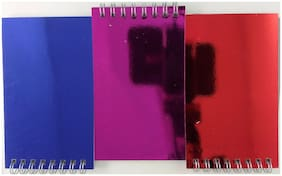 Jot Spiral-Bound Pocket Notebook Pads with Ruled Paper Metallic Covers 3 Pads/Pk