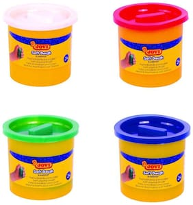 Jovi Blandiver Soft Dough Value Pack of 4 jars of 110 gms each (Standard colors) - White;Blue;Green and Red