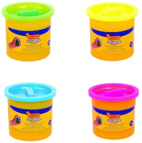 Jovi Blandiver Soft Dough Value Pack of 4 jars of 110 g each (Fluoroscent Colors) - Yellow;Green;Blue and Magneta