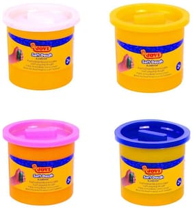 Jovi Blandiver Soft Dough Value Pack of 4 jars of 110 gms each (Standard colors) - Pink;White;yellow and Blue