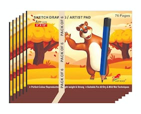 JUST RIDER A4+Extra Large Size 130gsm Sketch Ped/Books for Drawing;Colouring and Painting(76 Pages;Pack of 6)