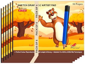 JUST RIDER A4+Extra Large Size 130gsm Sketch Ped/Books for Drawing;Colouring and Painting(52 Pages;Pack of 6)