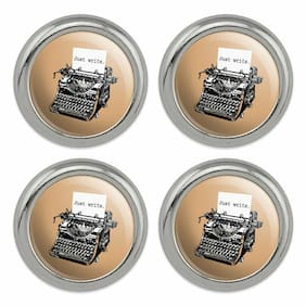 Just Write Antique Typewriter Writer Metal Craft Sewing Buttons - Set of 4