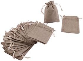 Jute Bags Gift Bags Pack of 10, Size 13 x 18 cm,Burlap Natural Jute, for Weddings,Functions, Parties, Baby Showers, Birthdays, Festivals or Any Occasion